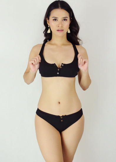Rita Two Piece Swimwear - Black Ribbed Button Up Two Piece Bikini Swimwear Swimsuit