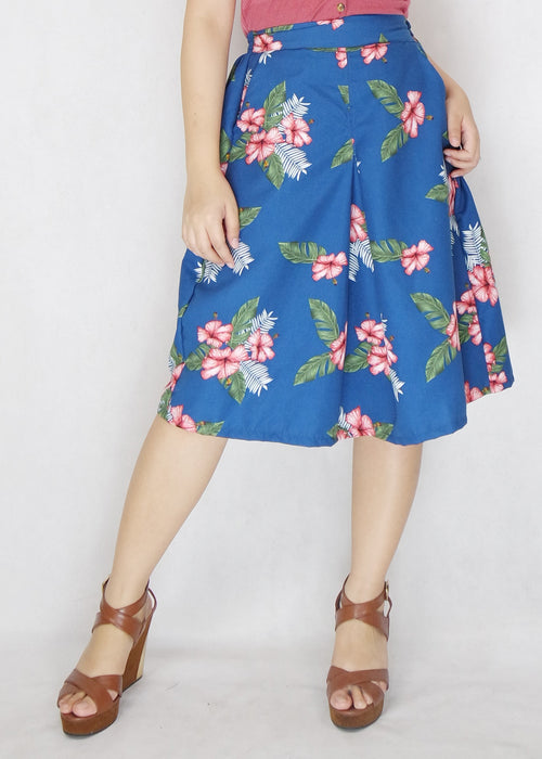 Blue Tropical Long Skirt