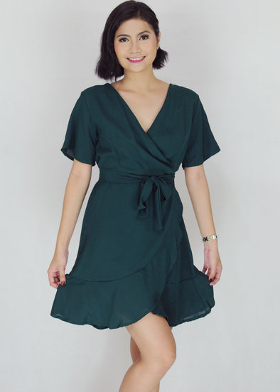 Deven Dress - Green V-Neck Self Tie Midi Dress