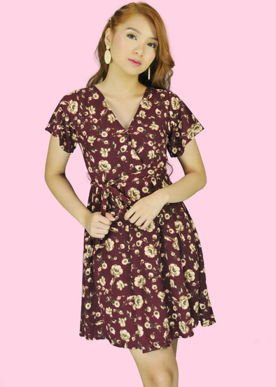 Eunice Dress - Maroon Rose