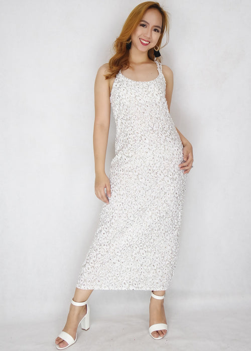 White Sequin Criss Cross Maxi Dress