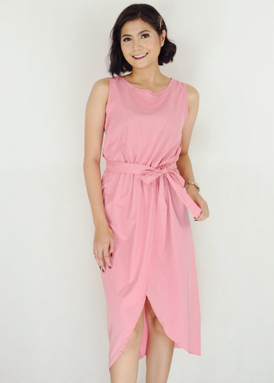 Connel Dress - Pink Sleeveless Midi Dress