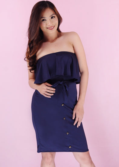 Idalia Dress - Blue Tube Layered Self Tie Bodycon Dress