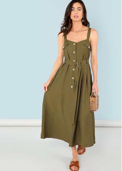Green Button Down Sleeveless Self Tie Maxi Dress