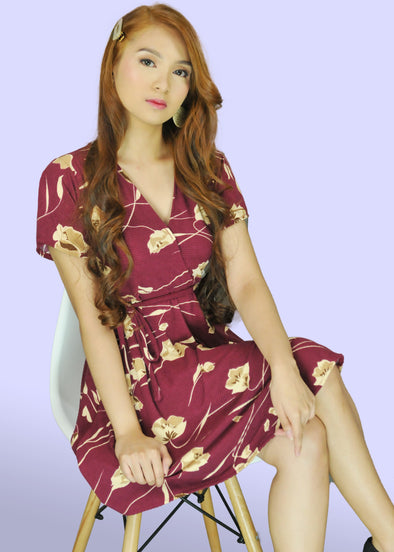 Eunice Dress - Maroon Gumamela