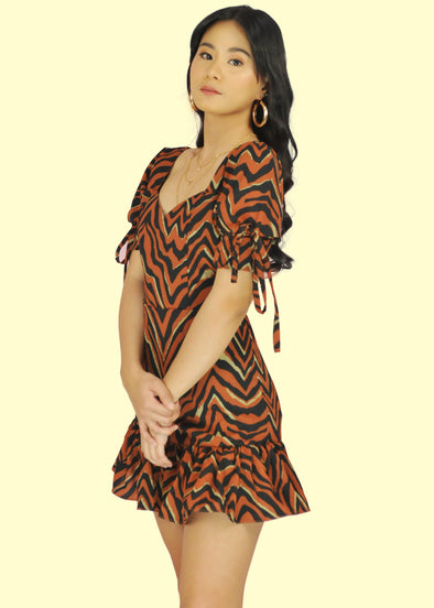 Mira Dress - Brown Zebra
