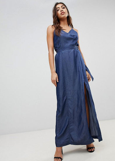 Dark Denim Spaghetti V-Neck Maxi Dress