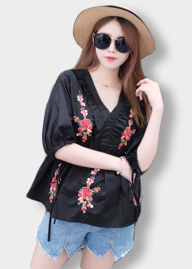 Black Sakura Embroidred Ruffle Top