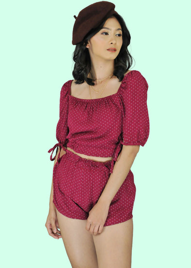 ZEALO Zala Terno Maroon Puff Sleeves Polka Dots Top and Shorts