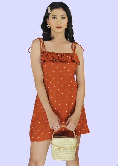 ZEALO Cara Rust Polka Dots Layered Spaghetti Tie Dress
