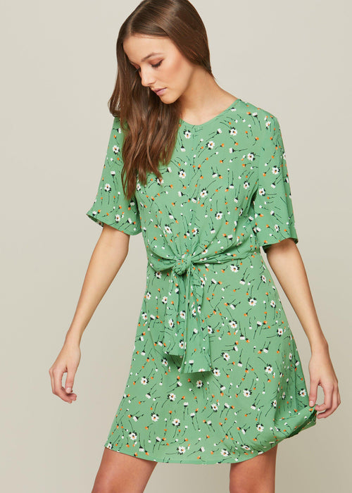 Light Green Wish Hole Front Skater Dress