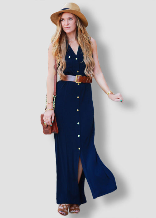Navy Blue Button Up Collar Sleeveless Maxi Dress