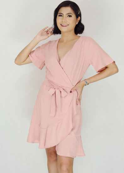 Deven Dress - Pink V-Neck Self Tie Midi Dress