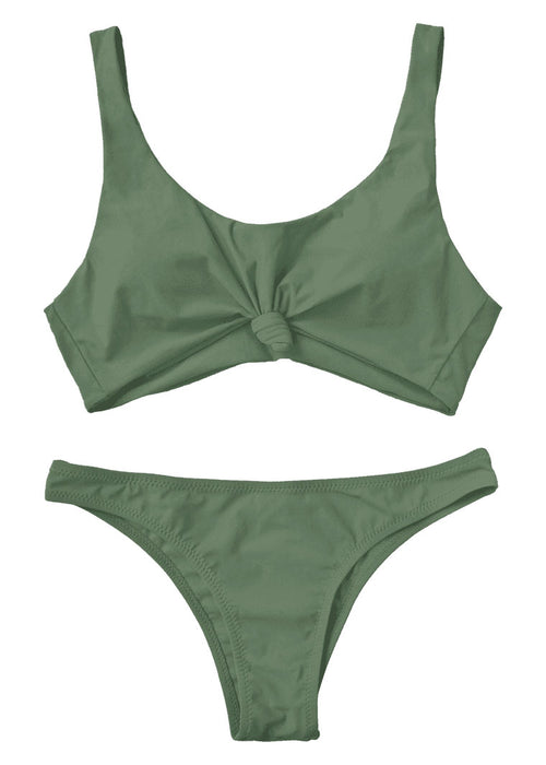 Green Knotted Scoop Two Piece Bikini
