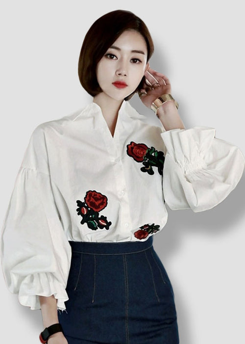 White Puff Sleeves Rose Pached Long Sleeves Top