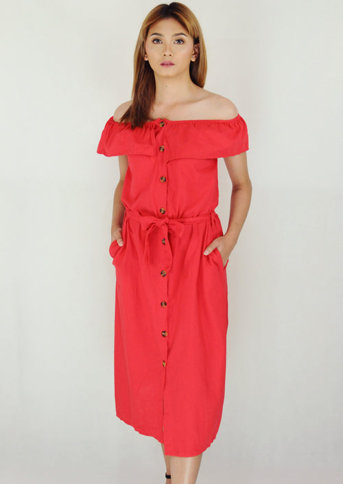 Red Layered Off Shoulder Button Down Midi Dress