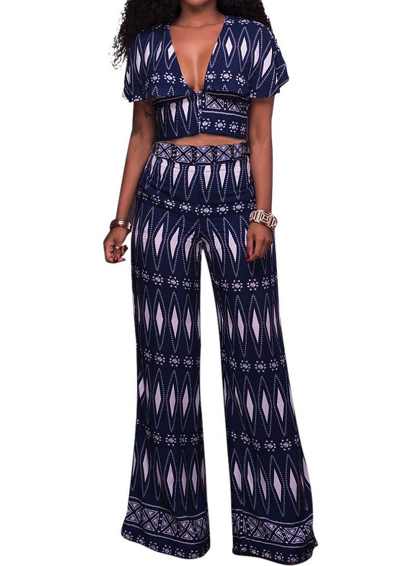 Blue Pattern V-Neck Crop Top with Pants