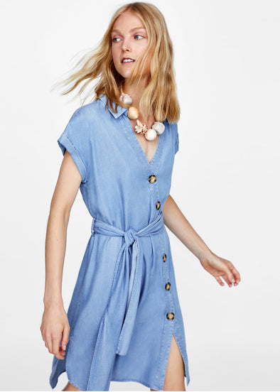 Light Denim Button Down Collar Self Tie Dress