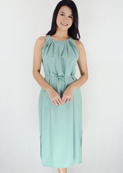 Bella Dress - Green Halter Side Slit Dress