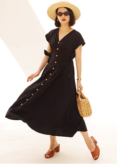 Black V-Neck Button Down Tie Side Maxi Dress