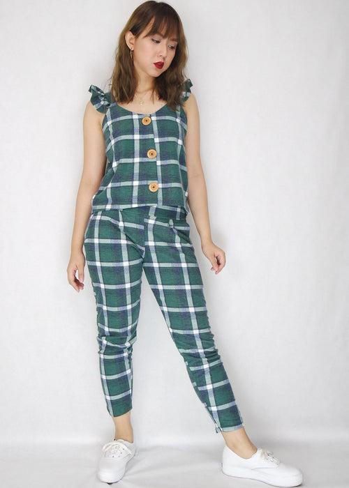 Green Plaid Button Up Ruffle Sleeves with Pants