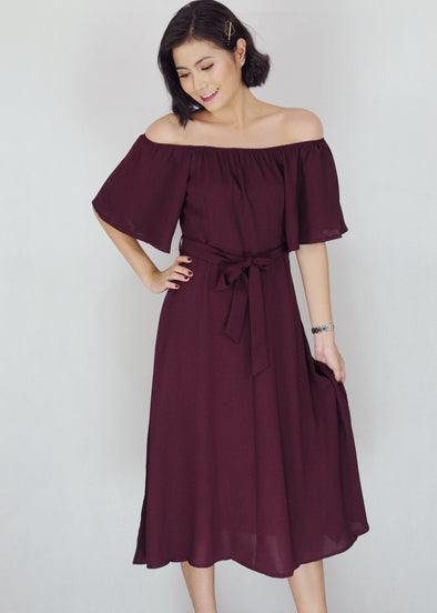 Zeshan Dress - Maroon Off Shoulder A-Line Midi Dress