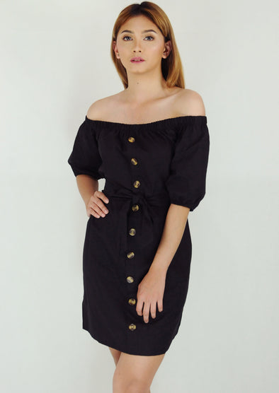 Black Off Shoulder Button Down Self Tie Dress