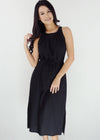 Bella Dress - Black Halter Side Slit Dress