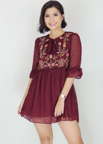 Chantal Dress - Maroon Floral Chiffon Lace Dress