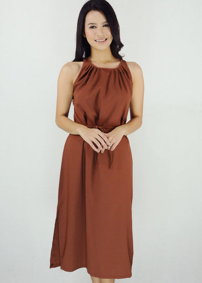 Bella Dress - Tan Halter Side Slit Dress