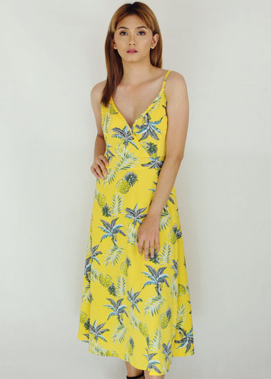 Yellow Pineapple Criss Cross Back Spaghetti Midi Dress