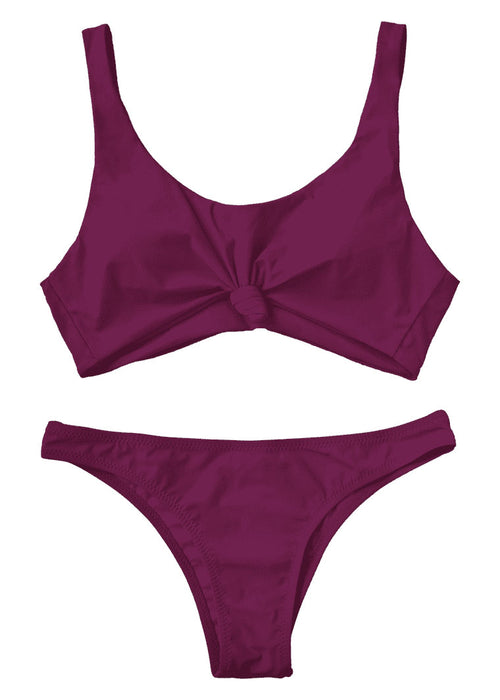 Violet Knotted Scoop Two Piece Bikini
