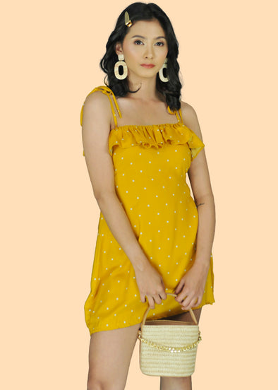 ZEALO Cara Mustard Polka Dots Layered Spaghetti Tie Dress