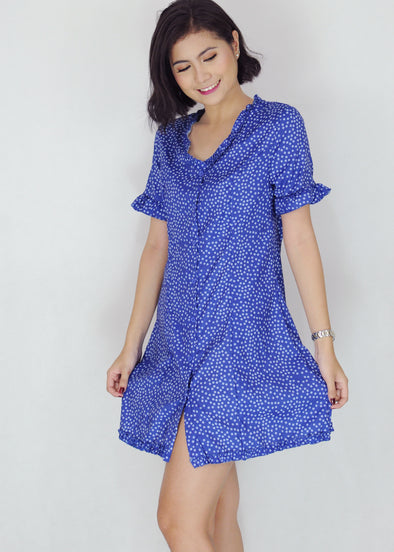 Kaylee Dress Blue Floral Button Down Dress