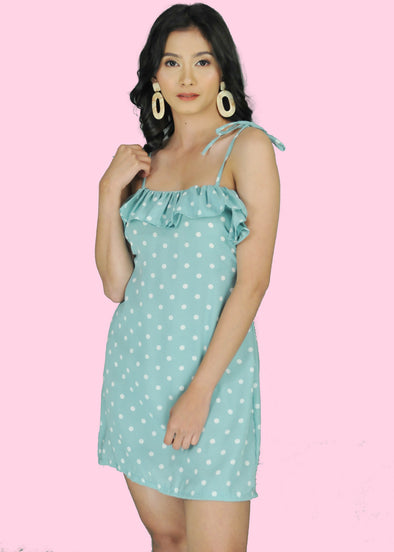 ZEALO Cara Pastel Blue Polka Dots Layered Spaghetti Tie Dress