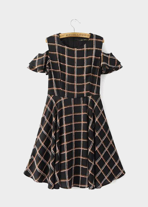 Black Checkered Open Shoulder Dress