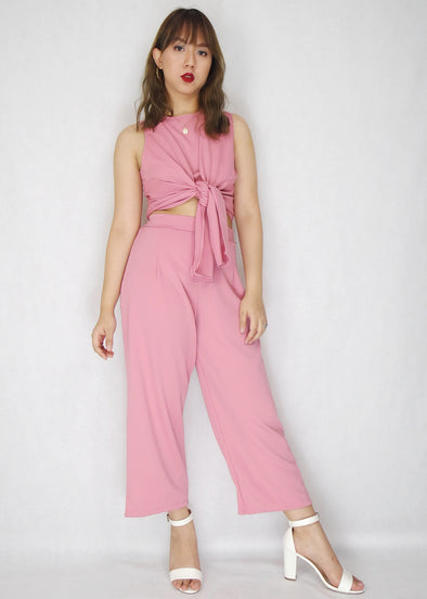 Pink Self Tie Front Corded Top with Pants