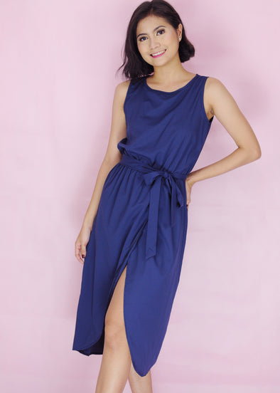 Connel Dress - Blue Sleeveless Midi Dress
