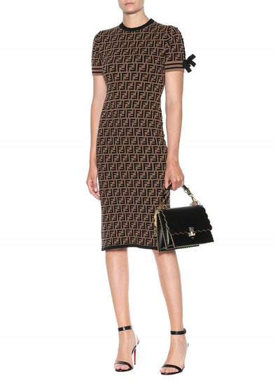 Brown Pattern Bodycon Dress