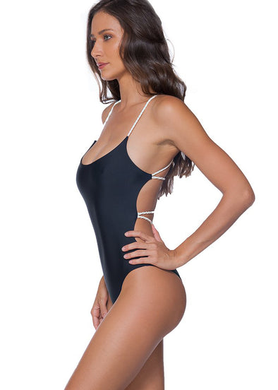 Black Plain Criss Cross One Piece