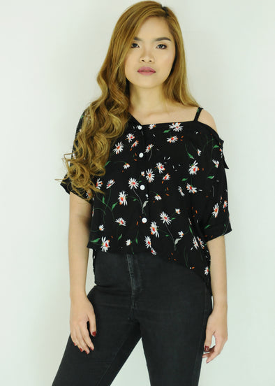 Black Floral Side Strap Polo Sleeves Top