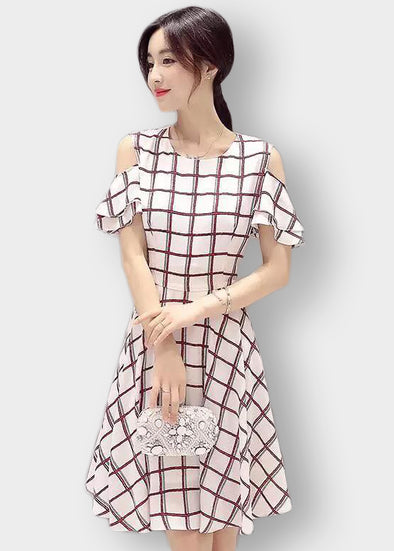 White Checkered Open Shoulder Dress
