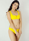Rita Two Piece Swimwear - Yellow Ribbed Button Up Two Piece Bikini Swimwear Swimsuit