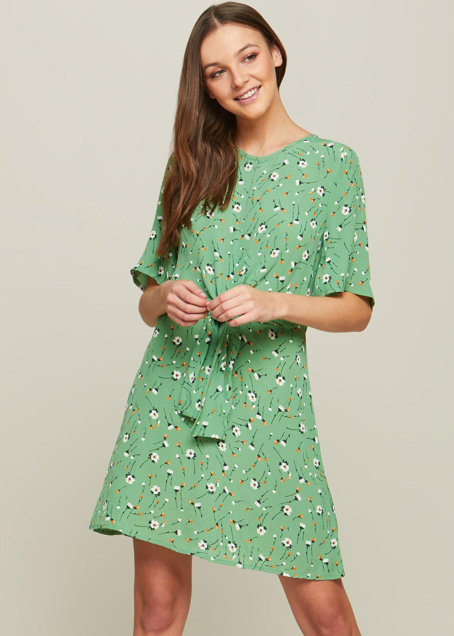 d9602c2d4b44 Light Green Wish Hole Front Skater Dress – ZEALO