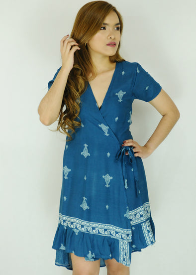 Blue Paisley Layered Wrap Dress