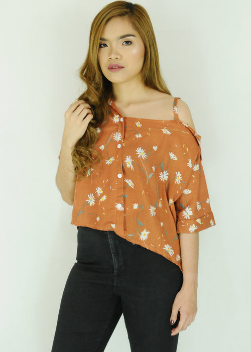 Orange Floral Side Strap Polo Sleeves Top