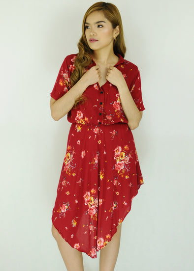 Red Floral Collar Dress