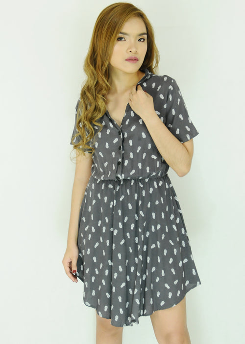 Gray Pineapple Pattern Collar Dress