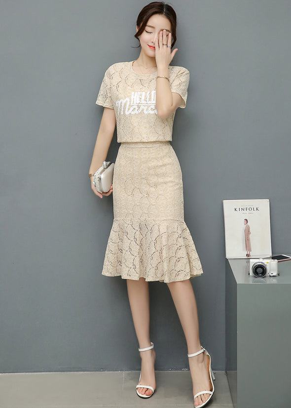Lace  Shirt with Lining and Peplum Skirt