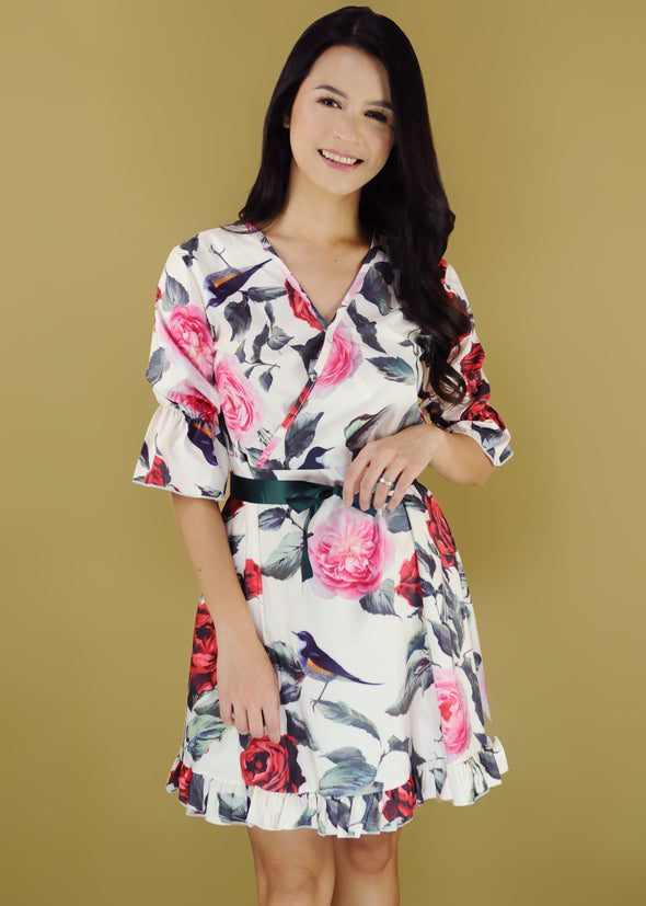 Brienna Dress Mixed Floral V-Neck A-Line Self Tie Dress